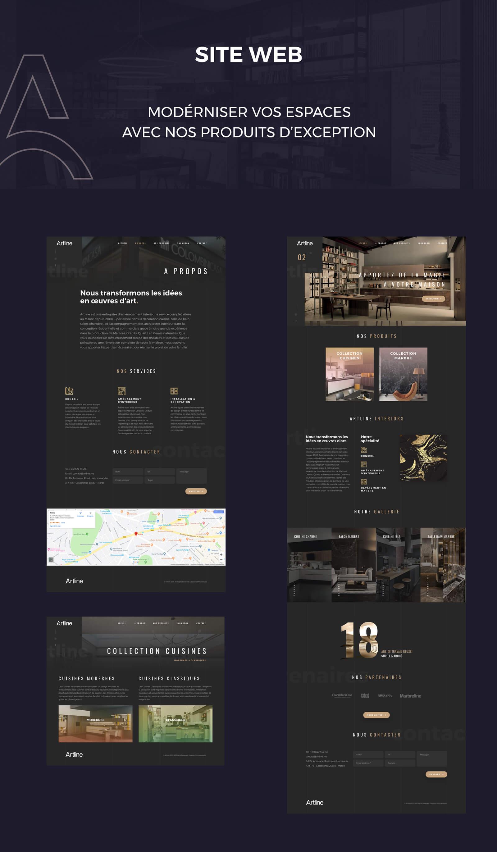Site web intérieur design artline identité visuelle intérieur Identité Artline intérieur site web artline